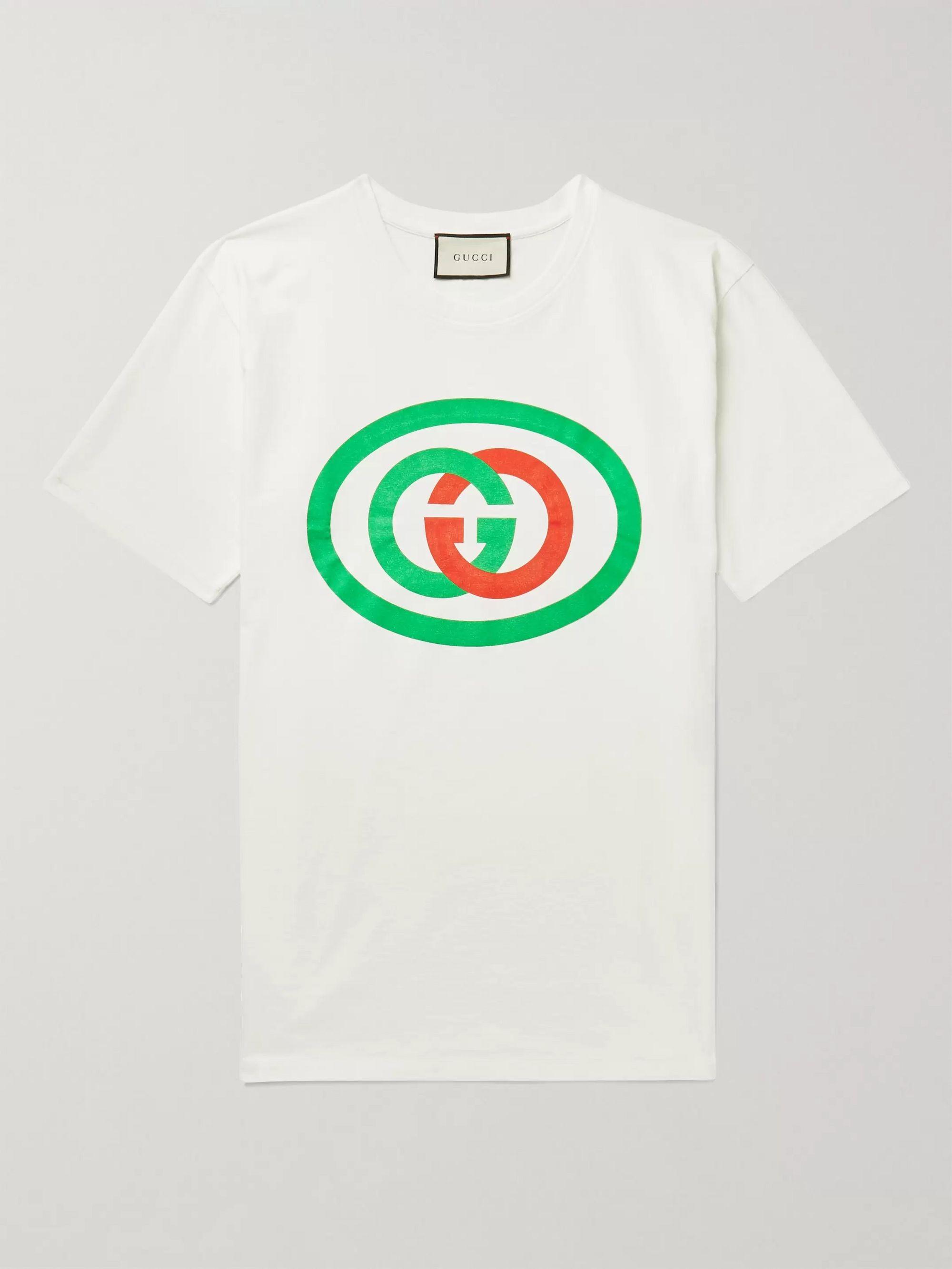 구찌 Gucci Off-white Oversized Logo-Print Cotton-Jersey T-Shirt,Off-white