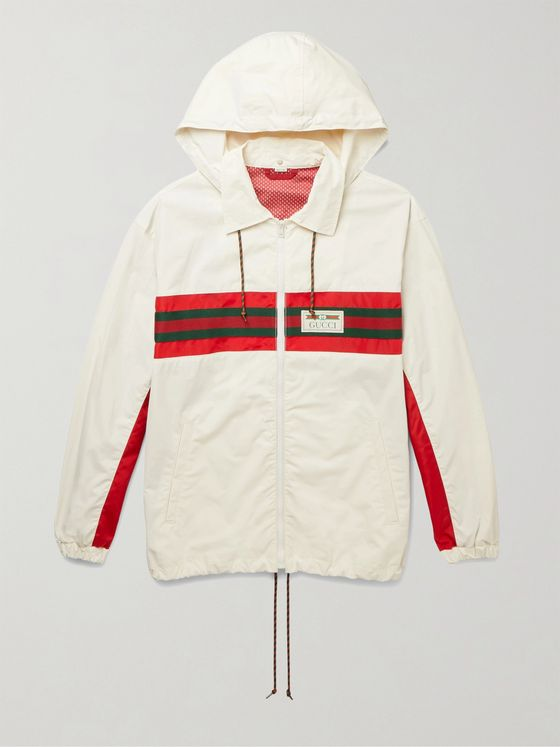 GUCCI Logo-Appliquéd Striped Hooded Shell Track Jacket