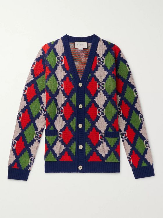 Gucci Argyle Wool Cardigan