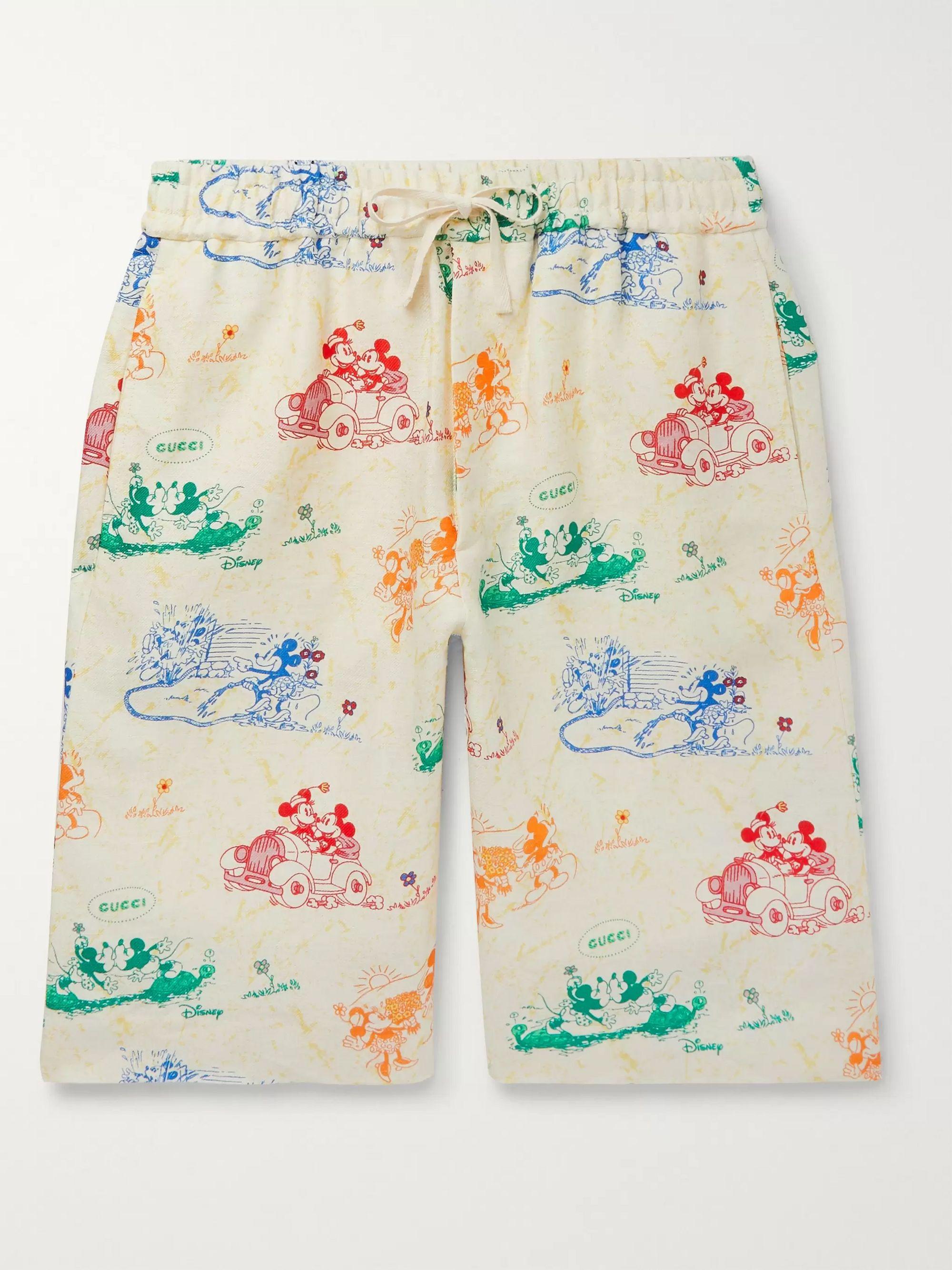 구찌 Gucci Wide-Leg Printed Linen Shorts,Ivory