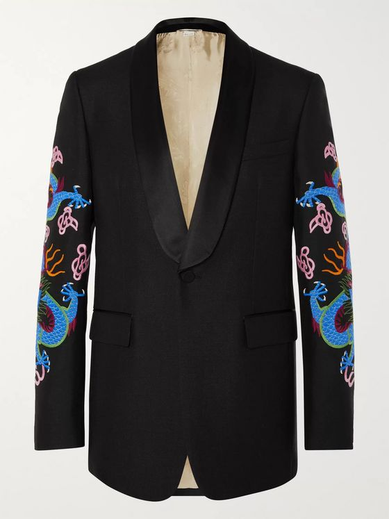 Gucci Black Embroidered Satin-Trimmed Wool and Mohair-Blend Tuxedo Jacket