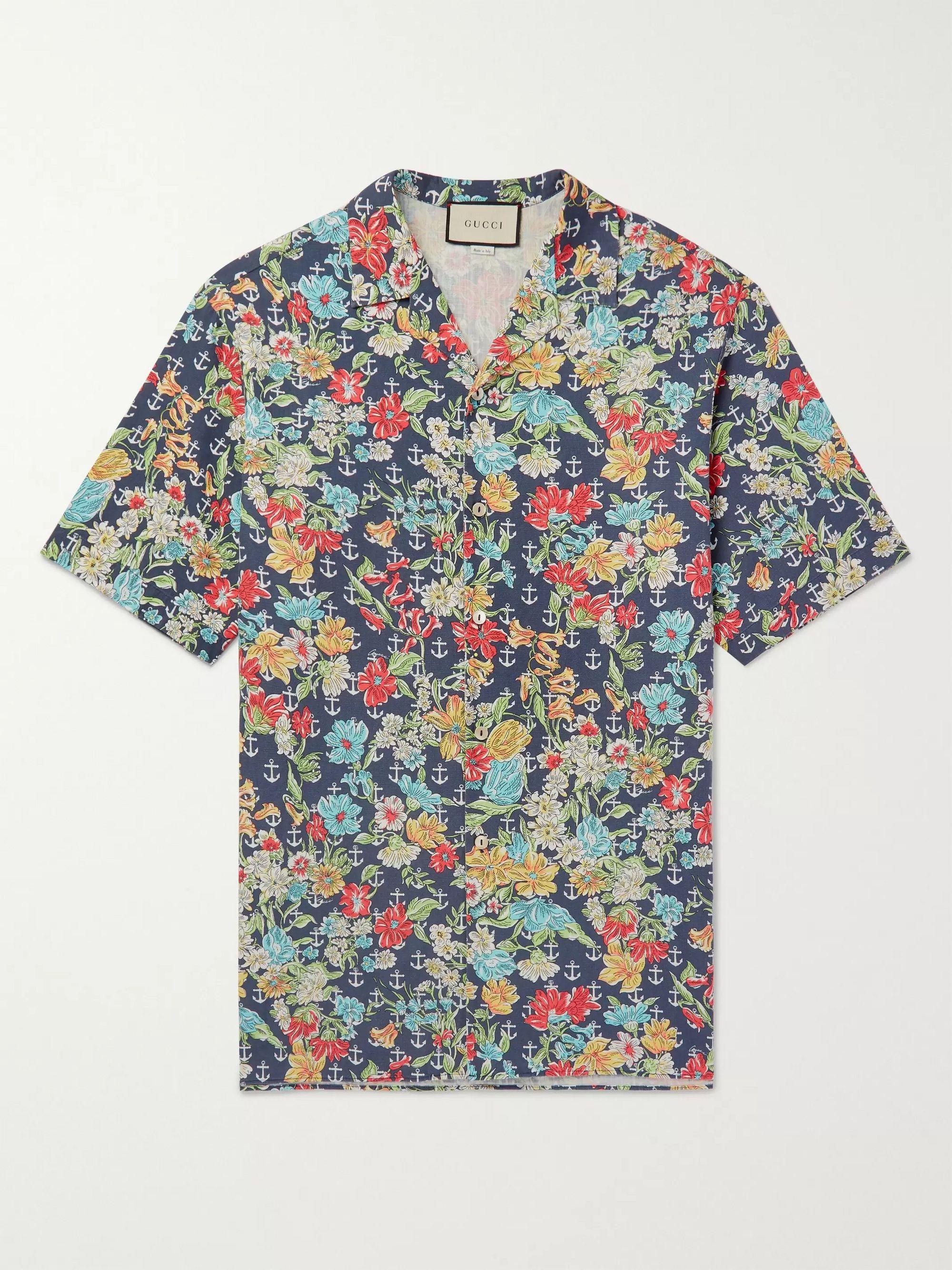 구찌 Gucci Oversized Camp-Collar Printed Cotton Shirt,Navy