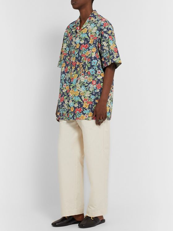 Gucci Oversized Camp-Collar Printed Cotton Shirt