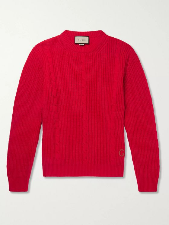 Gucci Logo-Embroidered Cable-Knit Wool Sweater