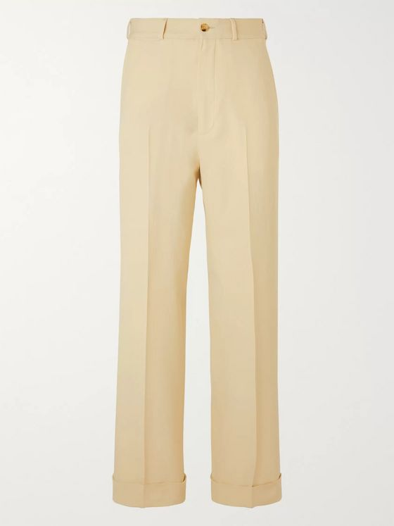 GUCCI Wide-Leg Herringbone Wool Trousers