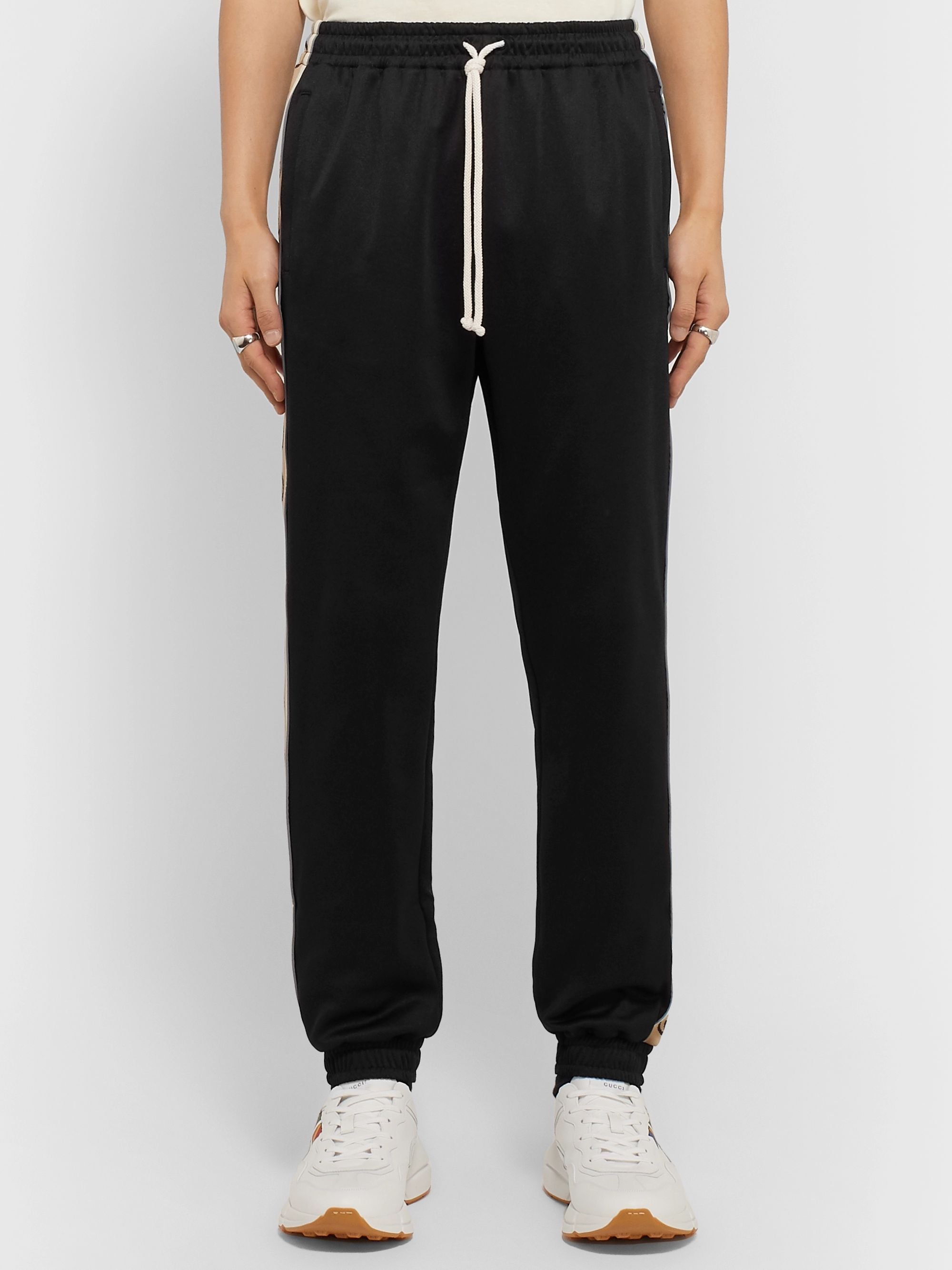 Gucci Tapered Logo-Jacquard Webbing-Trimmed Tech-Jersey Track Pants