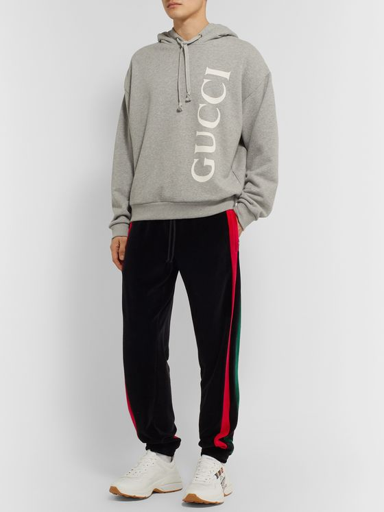 Gucci Tapered Striped Cotton-Blend Velour Sweatpants