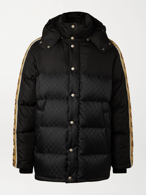 Gucci Logo-Jacquard Webbing-Trimmed Quilted Shell Hooded Down Jacket