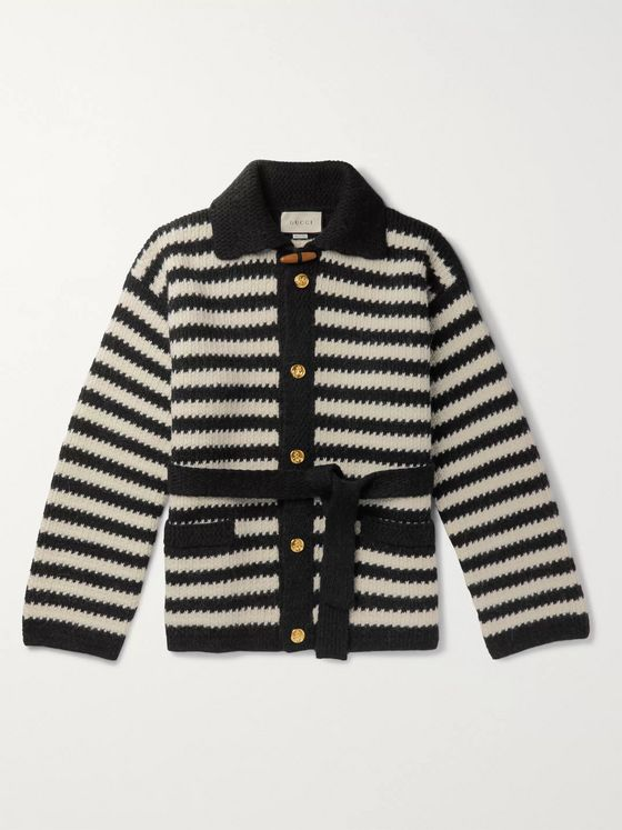 Gucci Belted Striped Wool and Alpaca-Blend Cardigan