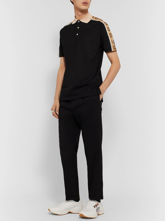 Gucci Logo-Jacquard Webbing-Trimmed Stretch-Cotton Piqué Polo Shirt