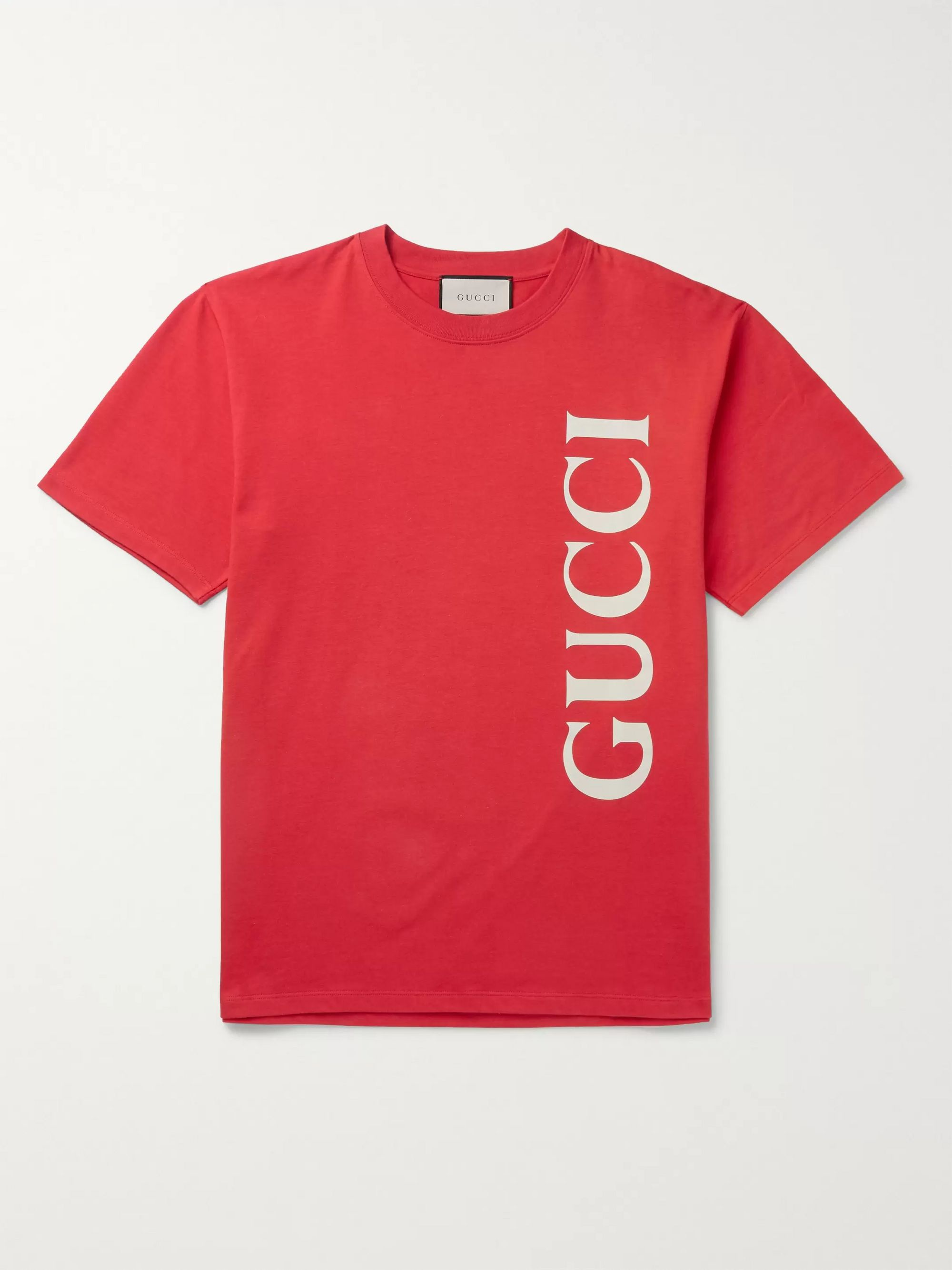 구찌 Gucci Oversized Logo-Print Cotton-Jersey T-Shirt,Red