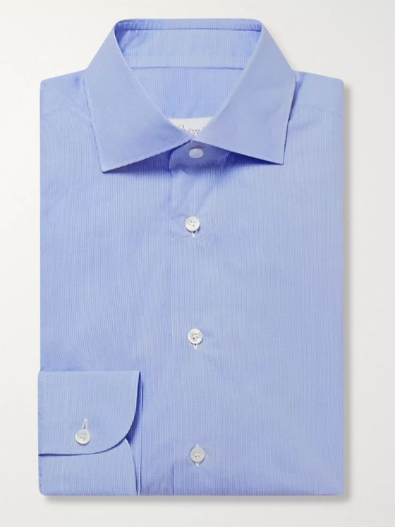 Brioni Blue Checked Cotton-Poplin Shirt