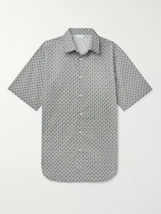 BRIONI Printed Cotton-Poplin Shirt