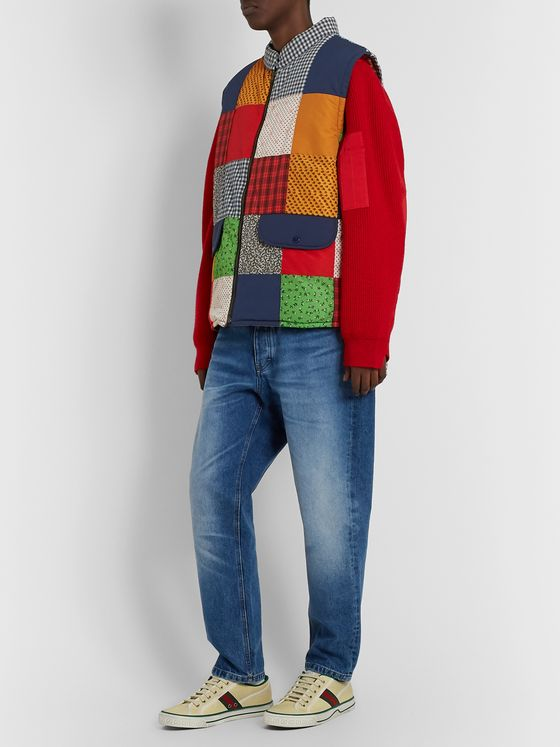 GUCCI Padded Patchwork Canvas, Shell and Cotton-Blend Gilet
