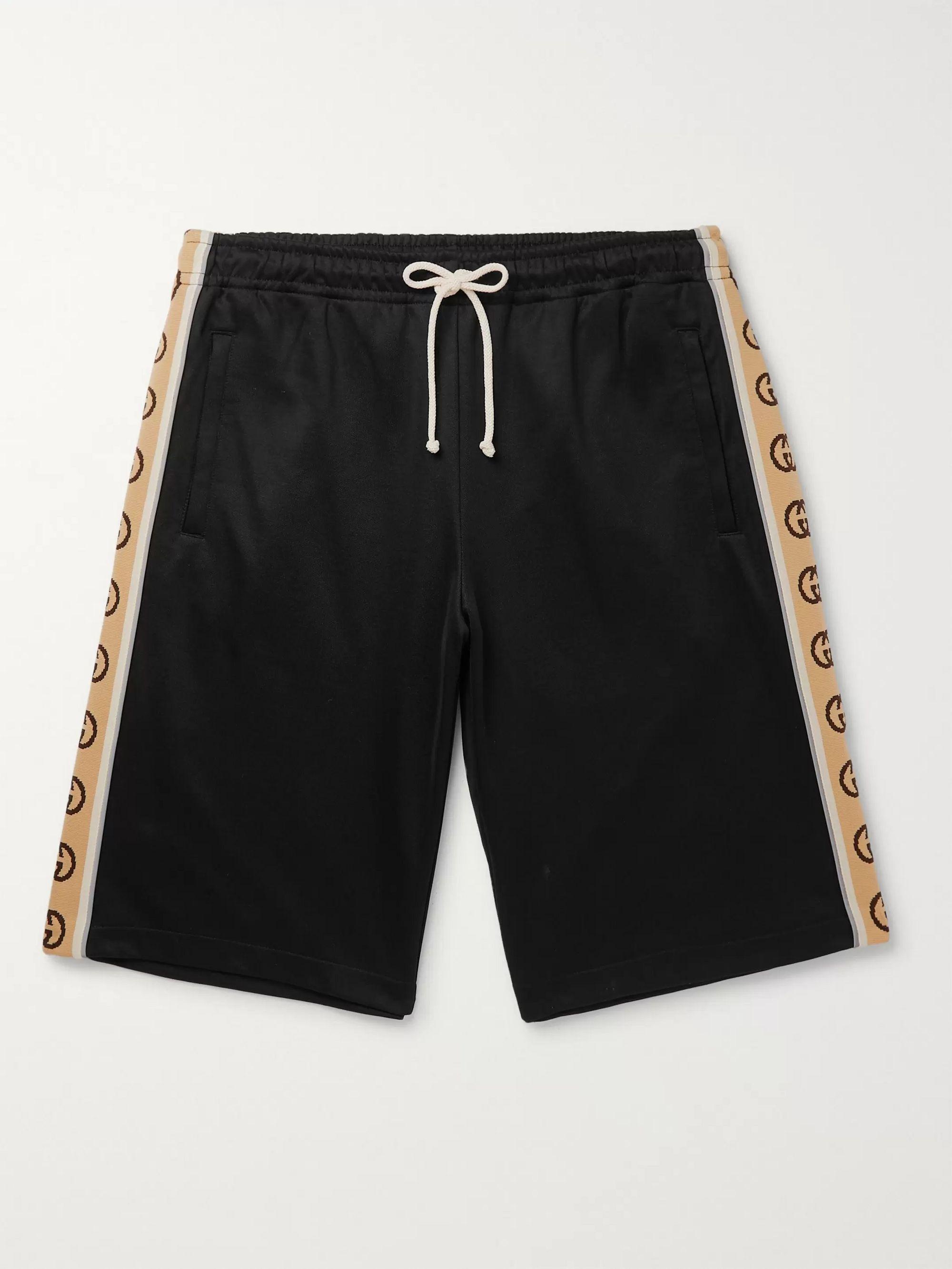 구찌 Gucci Wide-Leg Logo-Jacquard Webbing-Trimmed Tech-Jersey Drawstring Shorts,Black
