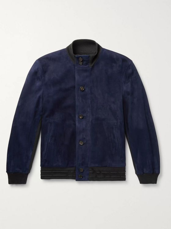 Brioni Suede and Wool Bomber Jacket