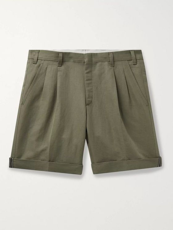 Brioni Pleated Linen and Cotton-Blend Twill Bermuda Shorts