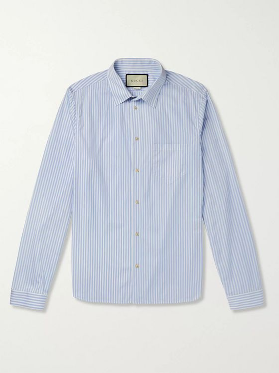 Gucci Striped Cotton-Poplin Shirt