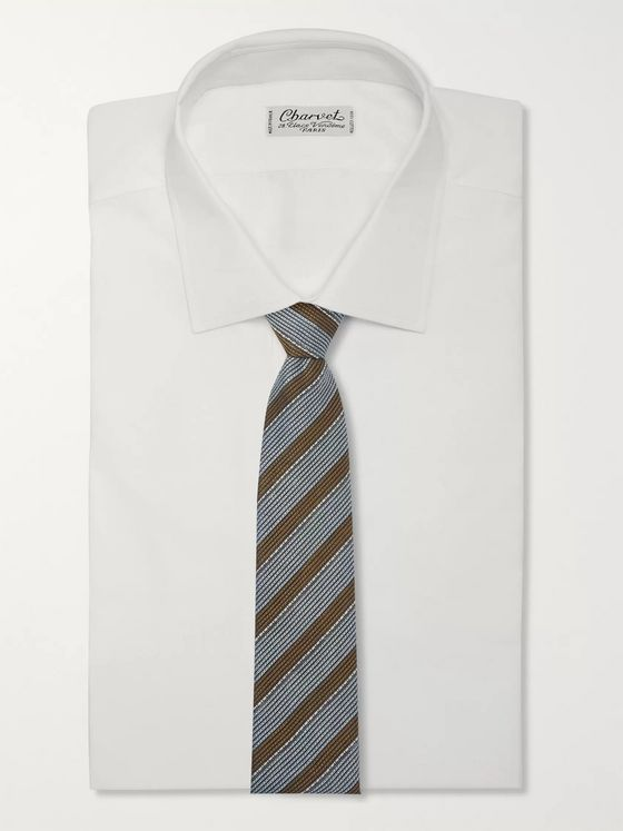 Brioni 8cm Striped Linen and Silk-Blend Tie