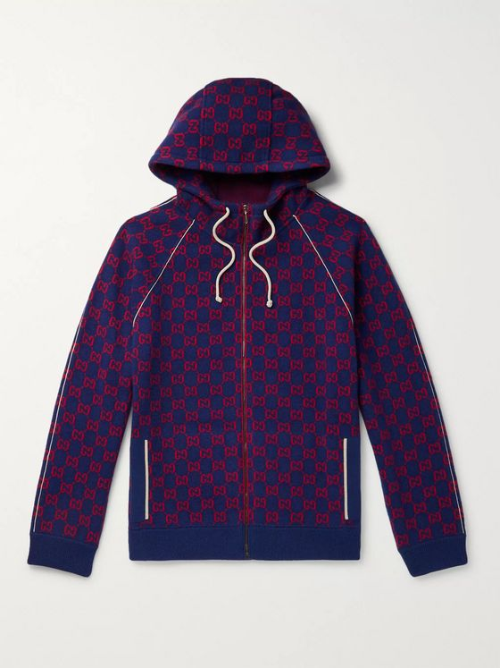 Gucci Logo-Jacquard Wool and Cashmere-Blend Zip-Up Hoodie