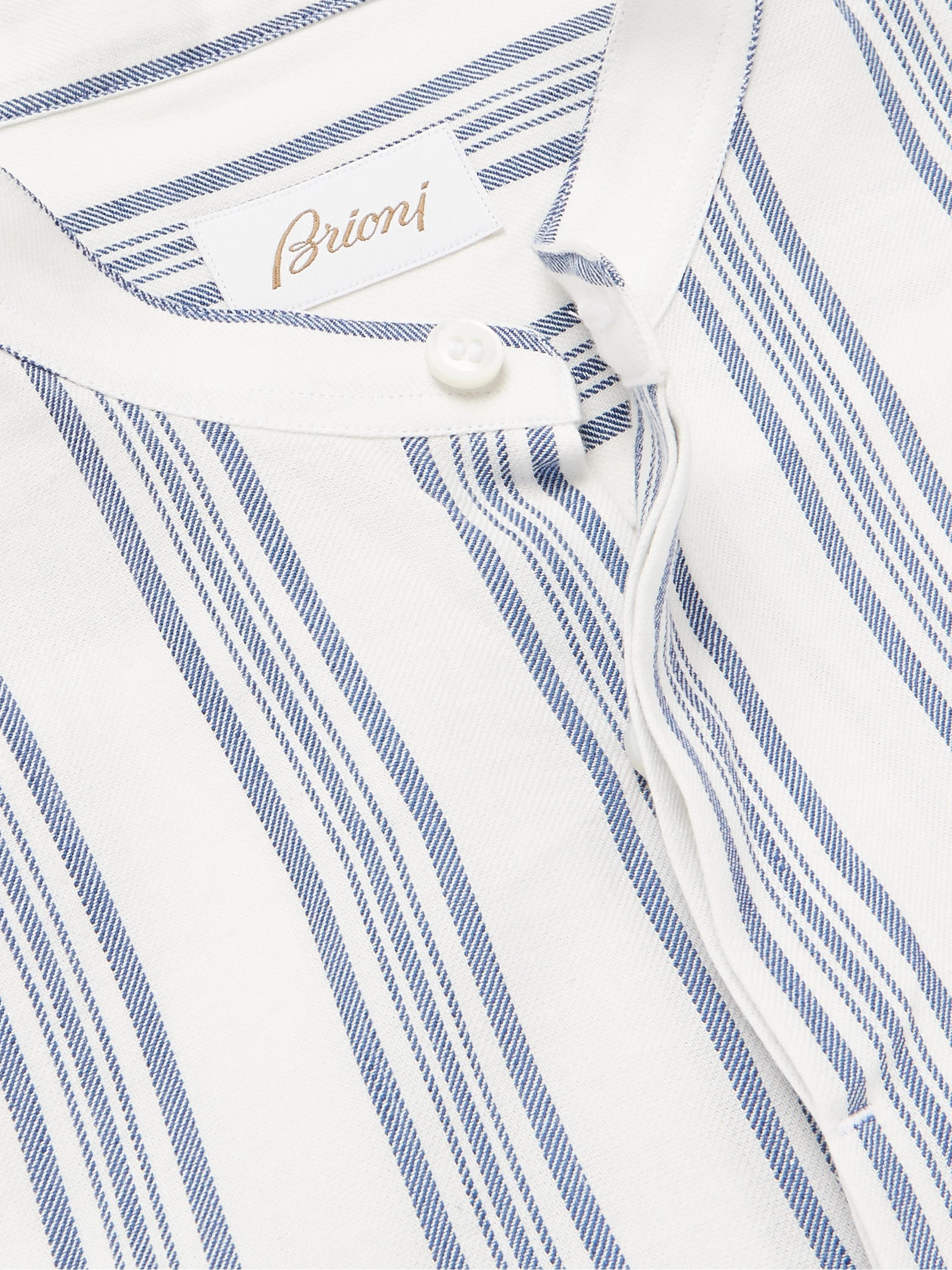 Brioni Grandad-Collar Striped Cotton and Linen-Blend Shirt
