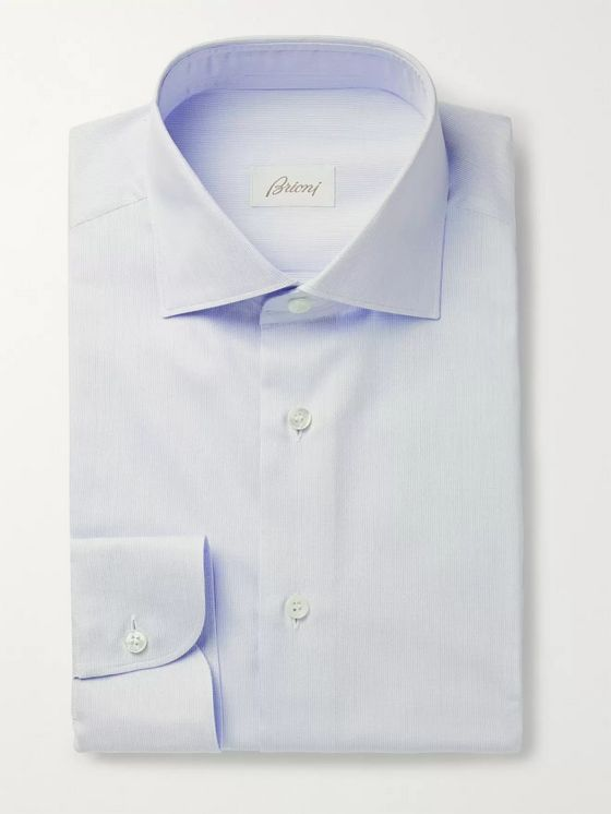 Brioni Cutaway-Collar Pinstriped Cotton-Poplin Shirt