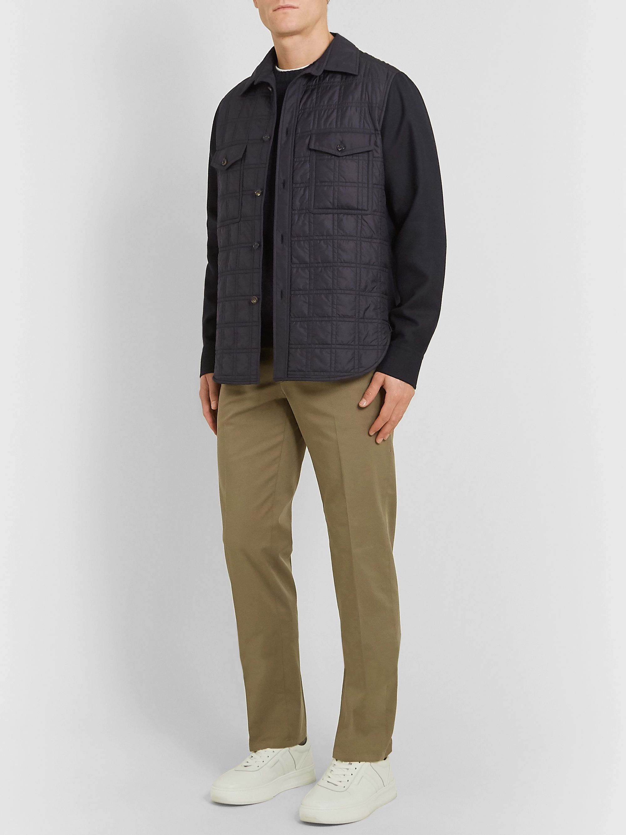 Brioni Virgin Wool-Twill and Quilted Shell Jacket