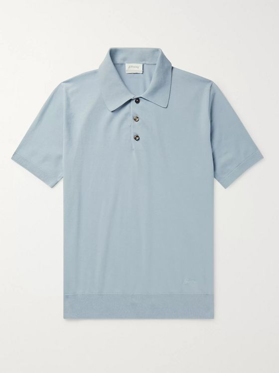 BRIONI Knitted Cotton Polo Shirt