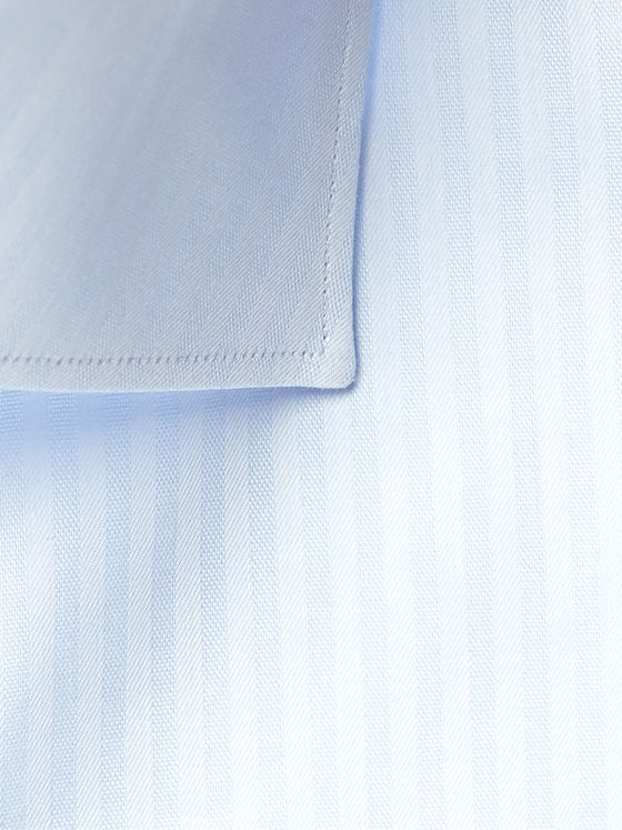 Brioni Cutaway-Collar Striped Cotton-Poplin Shirt