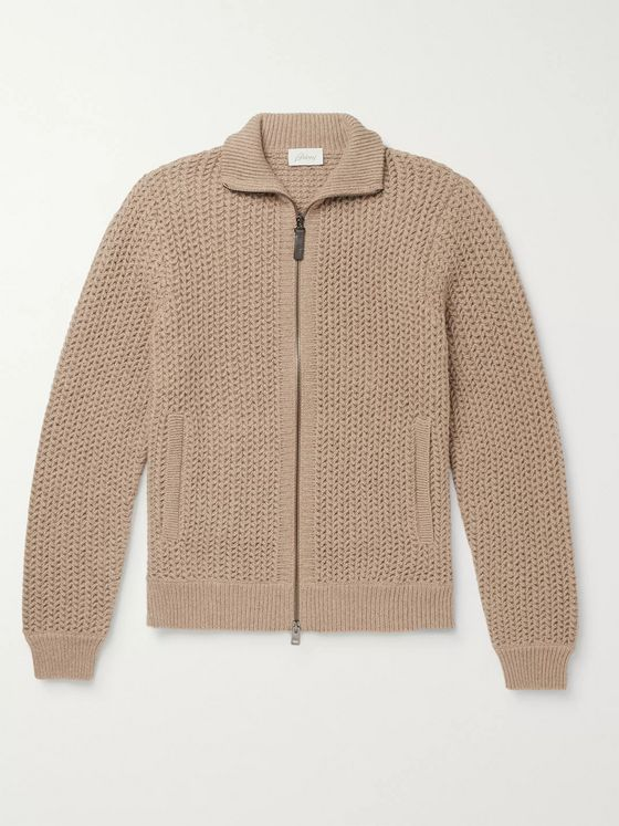 Brioni Textured Cashmere and Cotton-Blend Zip-Up Cardigan