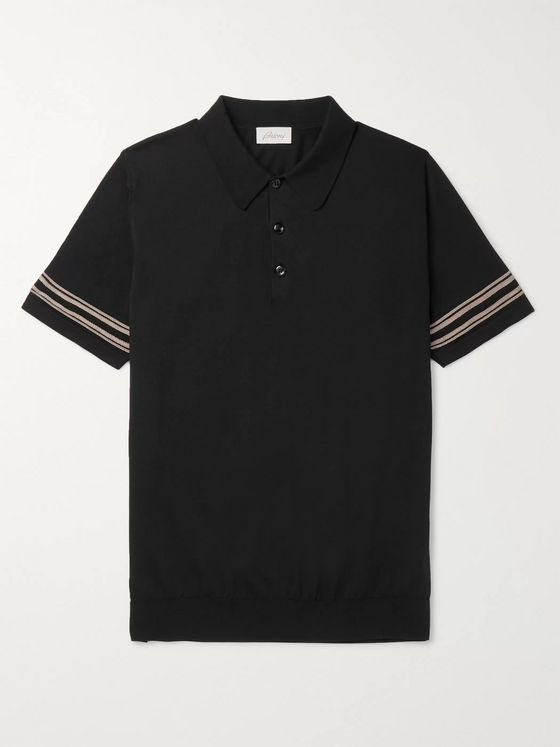 Brioni Slim-Fit Contrast-Trimmed Cotton and Silk-Blend Polo Shirt