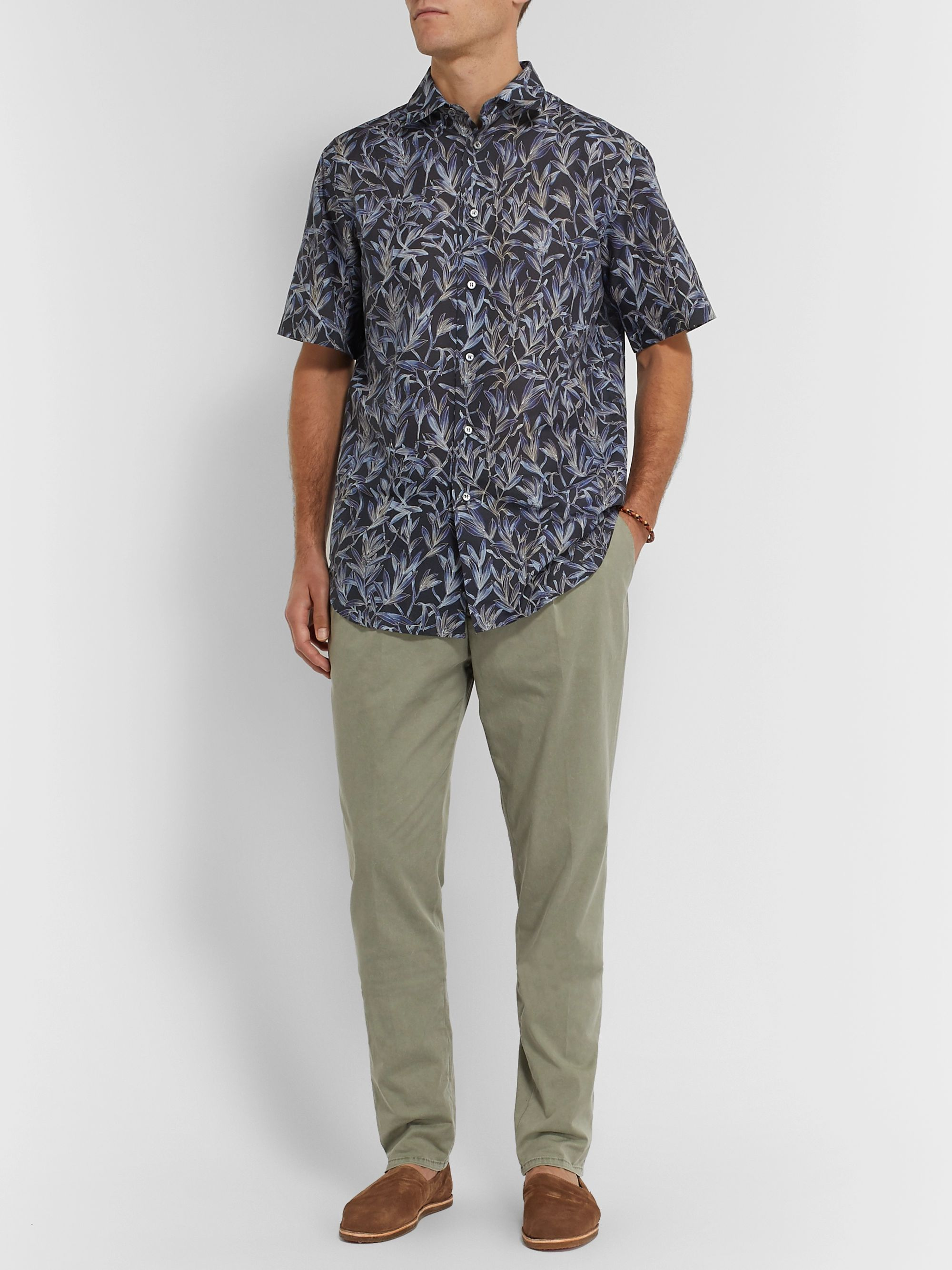 Brioni Printed Linen and Cotton-Blend Shirt