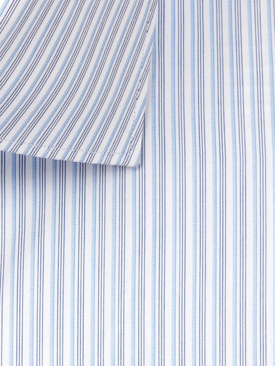 Brioni Blue Striped Cotton-Poplin Shirt