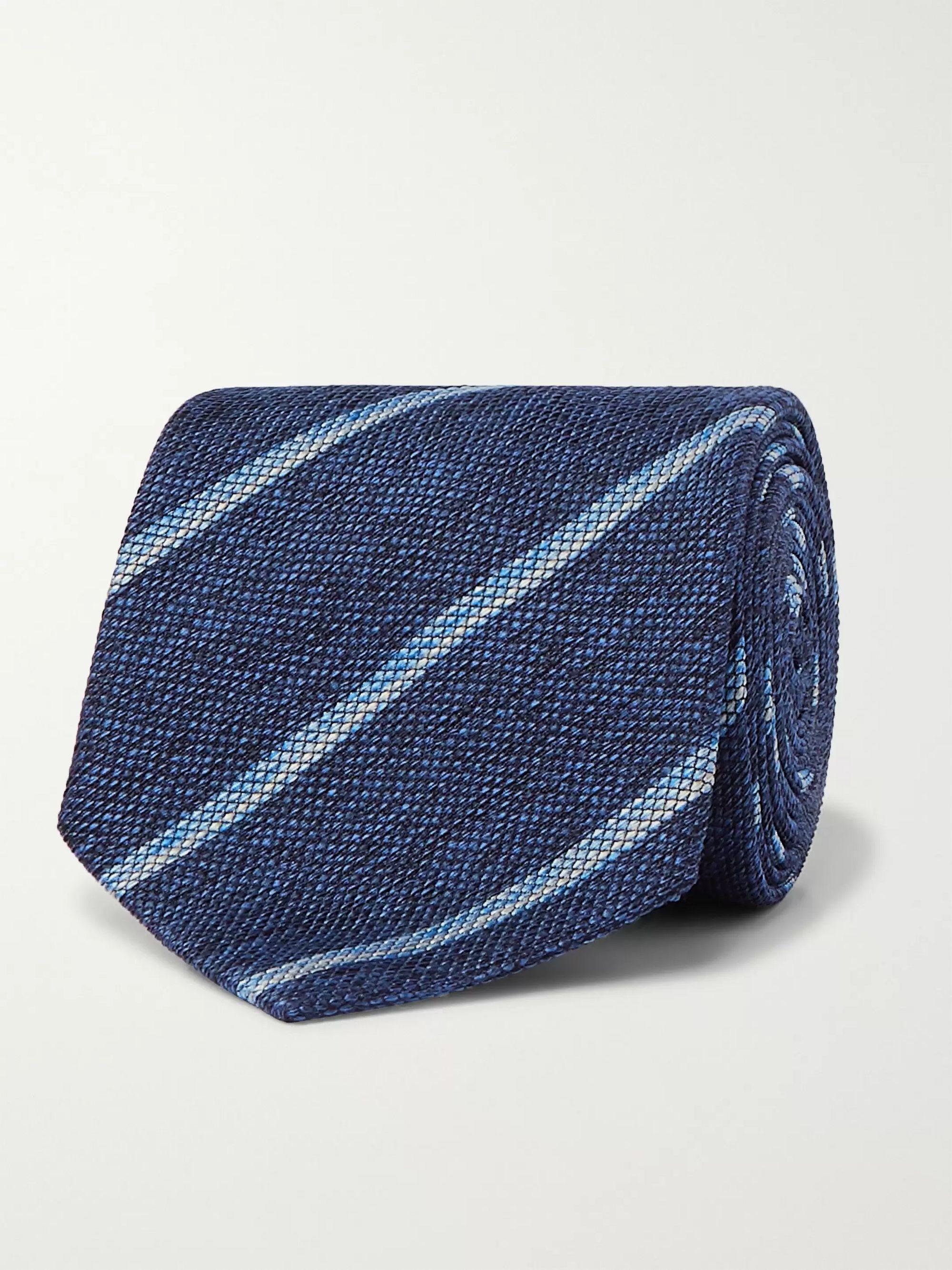 Navy 8cm Striped Silk-Jacquard Tie | Brioni | MR PORTER