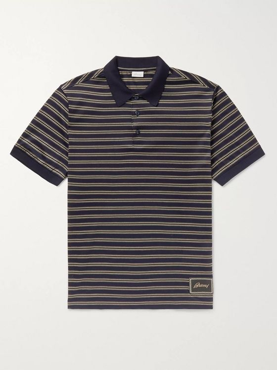 Brioni Striped Cotton Polo Shirt
