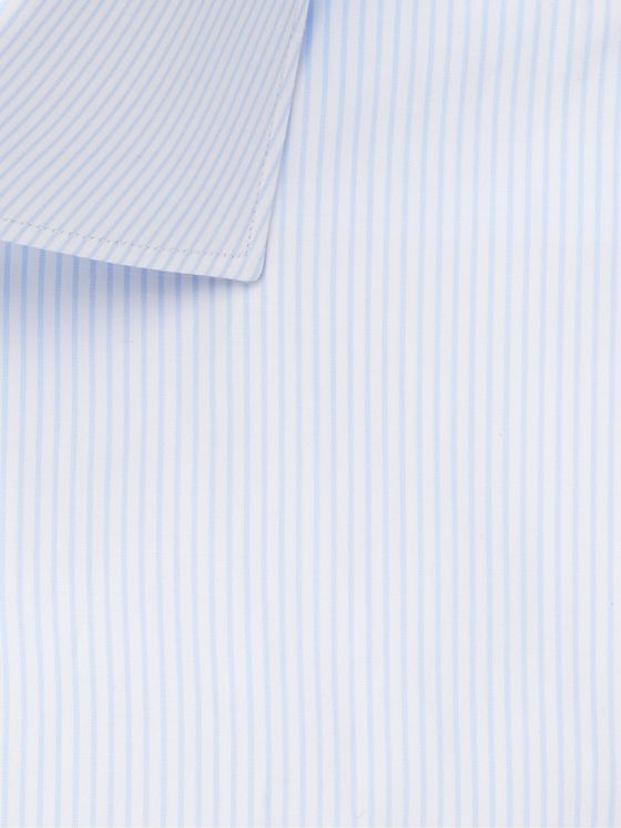 Brioni Light-Blue Cutaway-Collar Striped Cotton Shirt
