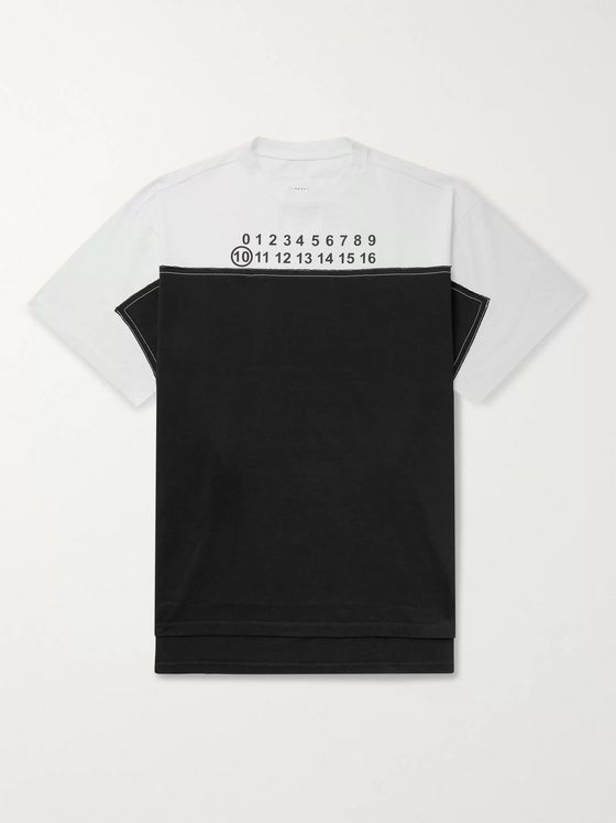 Maison Margiela Oversized Logo-Print Panelled Cotton-Jersey T-Shirt