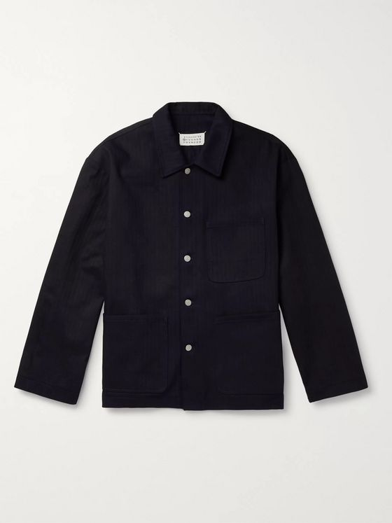 Maison Margiela Indigo-Dyed Herringbone Denim Overshirt