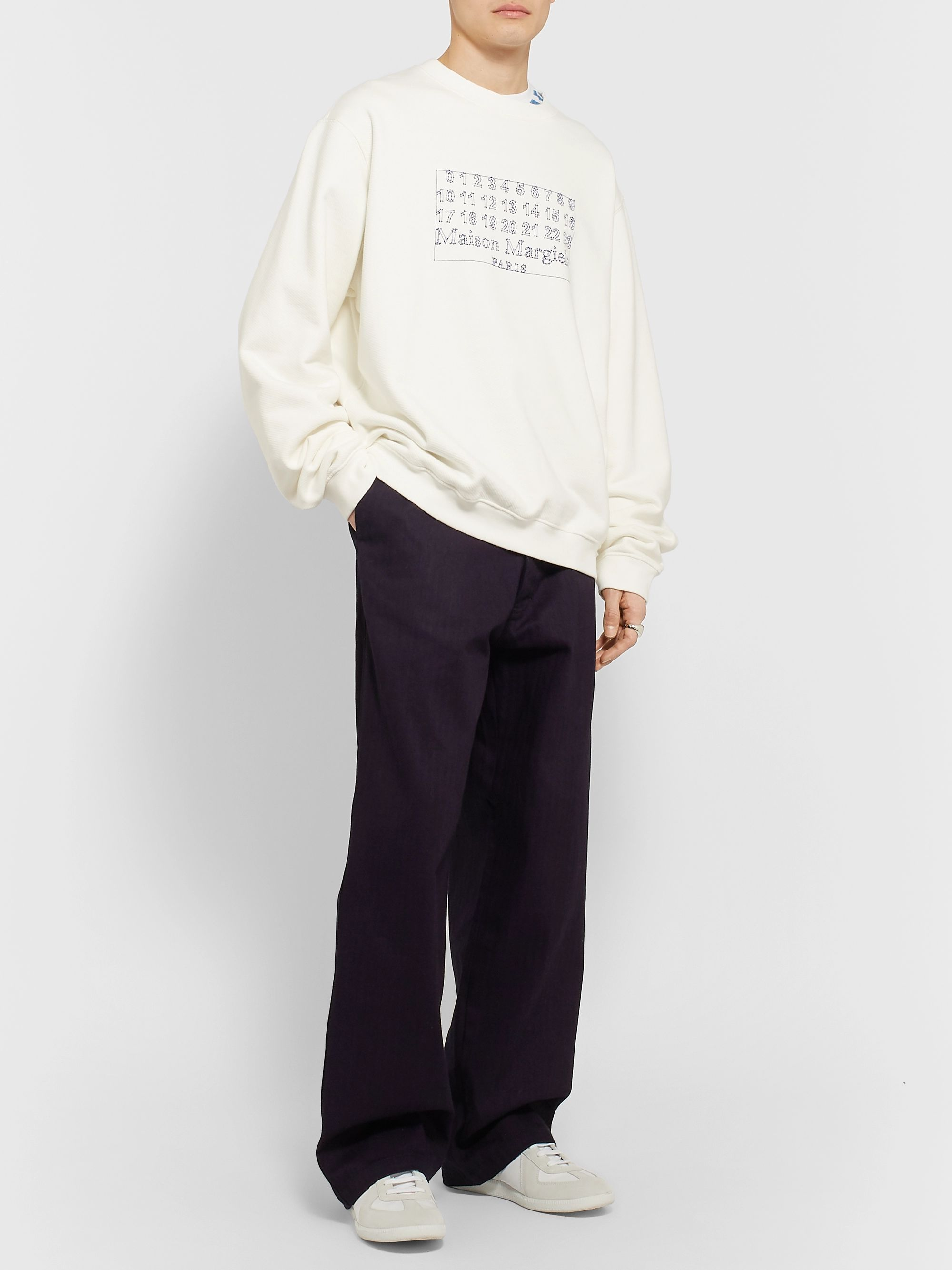 Maison Margiela Wide-Leg Herringbone Cotton Trousers