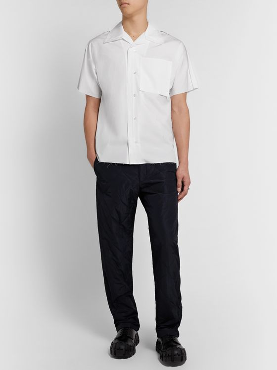 Maison Margiela Camp-Collar Distressed Cotton-Poplin Shirt