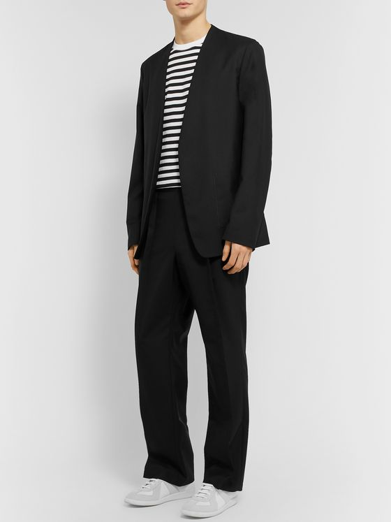 Maison Margiela Black Collarless Wool Blazer