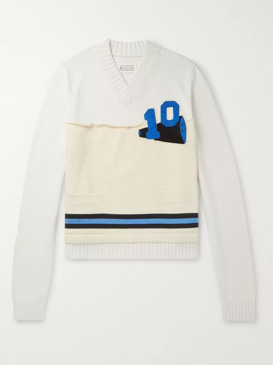 Maison Margiela Appliquéd Panelled Cotton-Blend Sweater