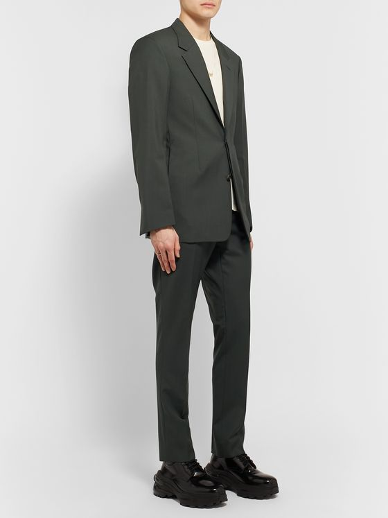 Maison Margiela Bottle-Green Slim-Fit Unstructured Virgin Wool and Mohair-Blend Suit Jacket