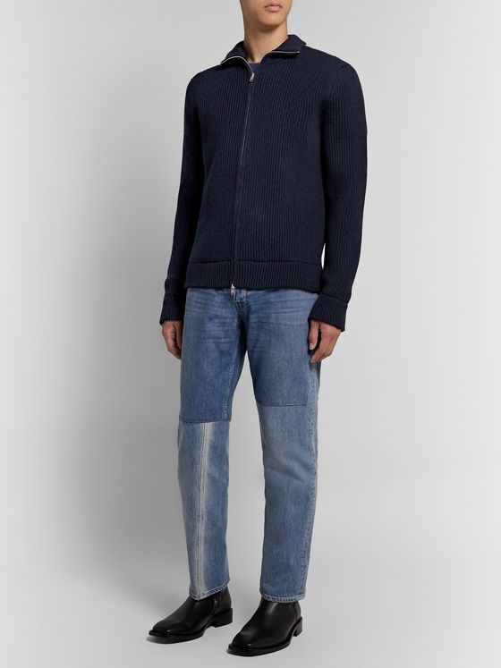 Maison Margiela Ribbed Wool Zip-Up Cardigan