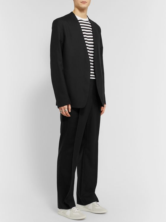 Maison Margiela Black Pleated Wool-Poplin Trousers