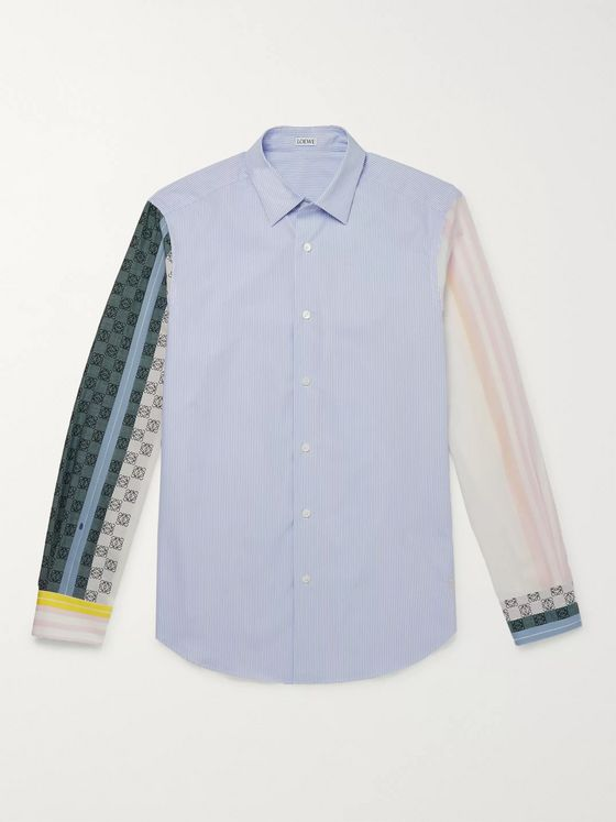 Loewe Logo-Print Striped Cotton-Poplin Shirt