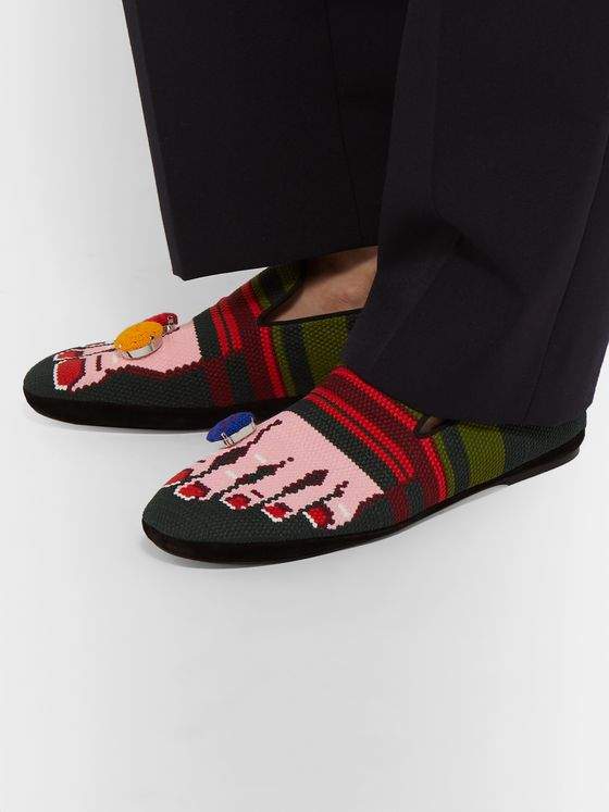 Loewe Embellished Intarsia Canvas Loafers