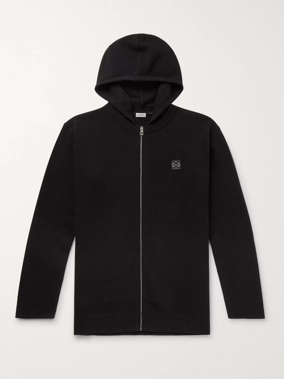Loewe Logo-Embroidered Wool Zip-Up Hoodie