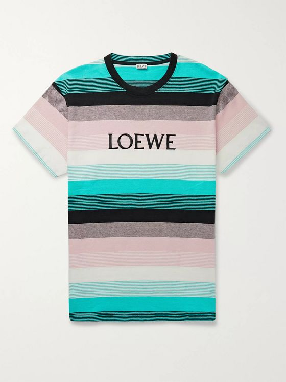 Loewe Logo-Embroidered Striped Cotton-Jersey T-Shirt