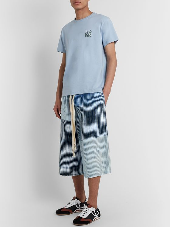 Loewe Wide-Leg Striped Crepe Drawstring Bermuda Shorts